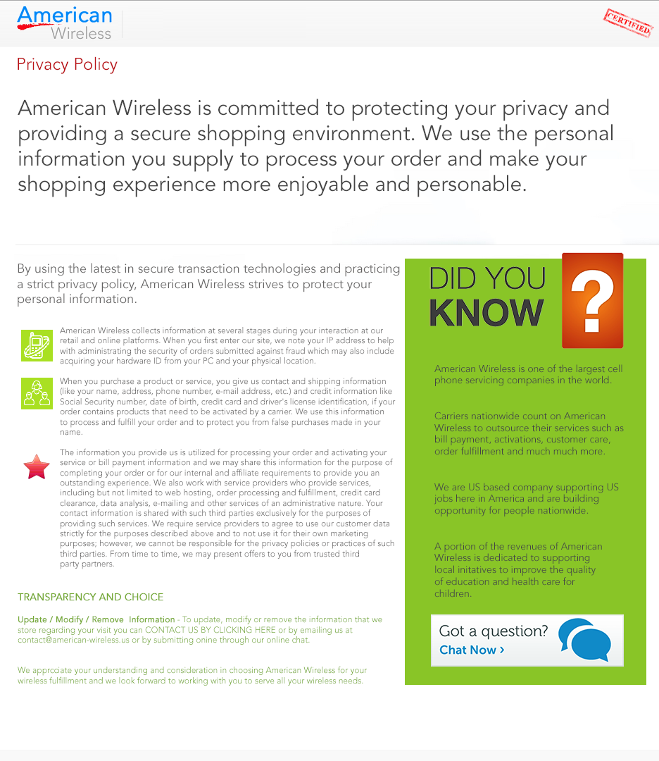 SMPP - Wireless Billing -Privacy Policy